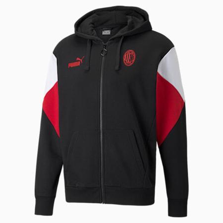 ACM FtblCulture Fußball-Hoodie mit durchgehendem Reißverschluss für Herren, Puma Black-Tango Red, small