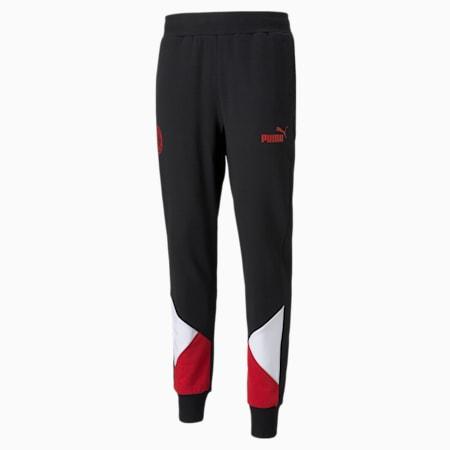 AC Milan FtblCulture Men's Track Football Pants, Puma Black-Tango Red, small