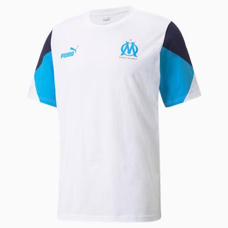 Męski T-shirt piłkarski OM FtblCulture, Puma White-Bleu Azur, small