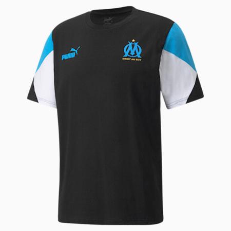 Męski T-shirt piłkarski OM FtblCulture, Puma Black-Bleu Azur, small