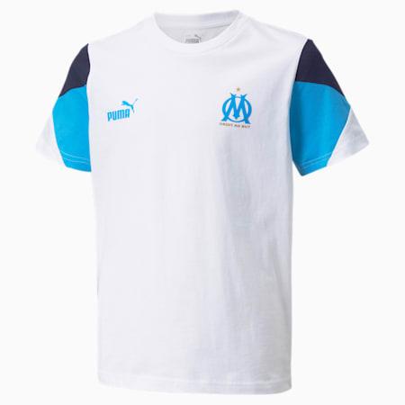 OM FtblCulture Youth Football Tee, Puma White-Bleu Azur, small-GBR