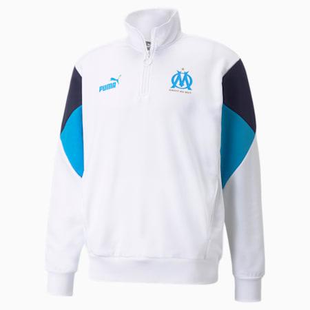 Sweat de football à demi-fermeture zippée OM FtblCulture homme, Puma White-Bleu Azur, small