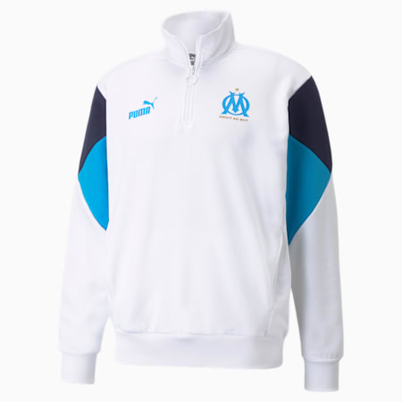 OM FtblCulture Half-Zip Men's Football Sweatshirt, Puma White-Bleu Azur, small-GBR