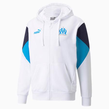Męska piłkarska bluza z kapturem z zamkiem na całej długości OM FtblCulture, Puma White-Bleu Azur, small
