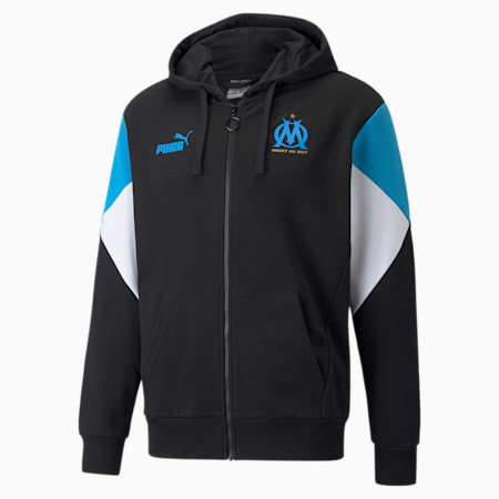 OM FtblCulture Full-Zip Men's Football Hoodie, Puma Black-Bleu Azur, small