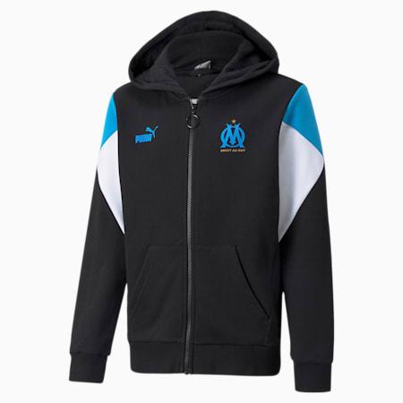 OM FtblCulture Full-Zip Youth Football Hoodie, Puma Black-Bleu Azur, small-GBR