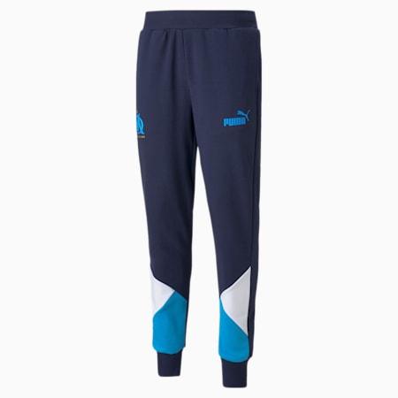 Męskie piłkarskie spodnie dresowe OM FtblCulture, Peacoat-Bleu Azur, small