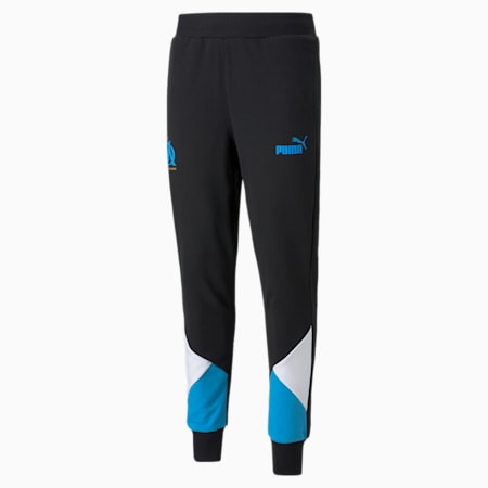Męskie piłkarskie spodnie dresowe OM FtblCulture, Puma Black-Bleu Azur, small