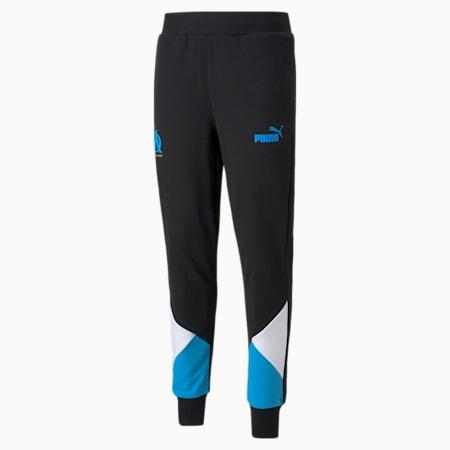 OM FtblCulture Men's Football Track Pants, Puma Black-Bleu Azur, small-GBR