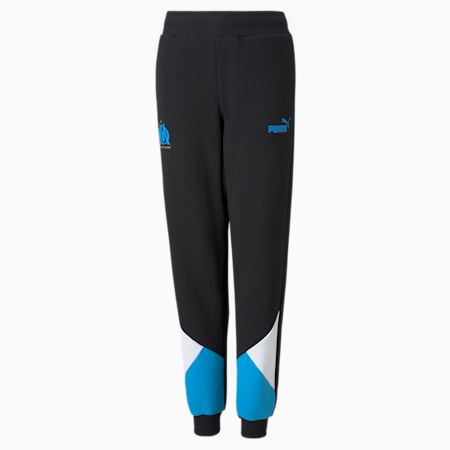 OM FtblCulture Youth Football Track Pants, Puma Black-Bleu Azur, small-GBR