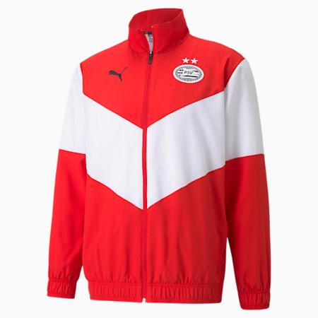 PSV Prematch Men's Football Jacket, High Risk Red-Puma White, small