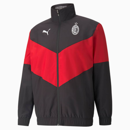 AC Milan Men's Prematch Woven Jacket, Puma Black-Tango Red, small-IND