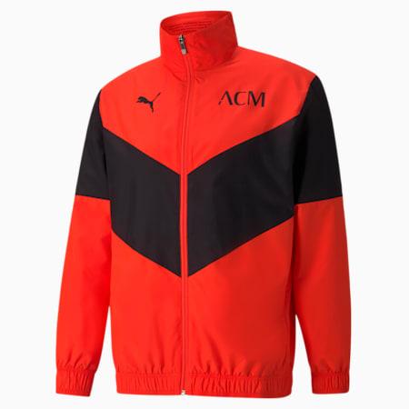 AC Milan Prematch Men's Football Jacket, Red Blast-Puma Black, small