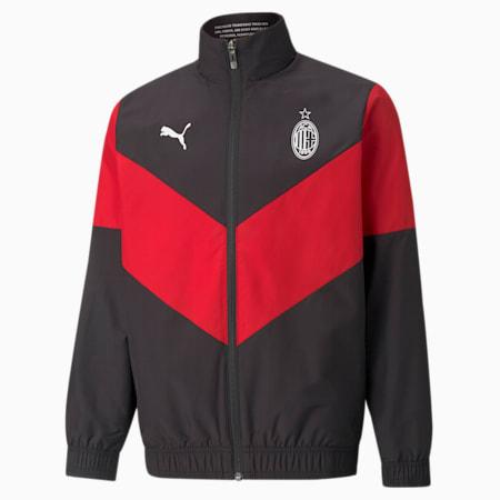 AC Milan Prematch Youth Football Jacket, Puma Black-Tango Red, small