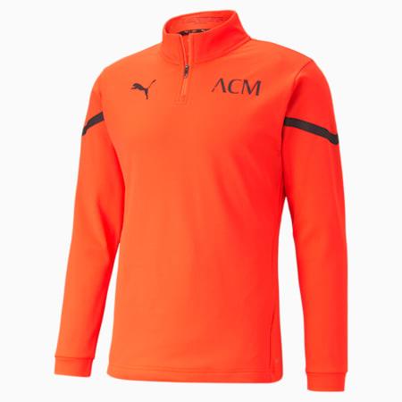 AC Milan Prematch Quarter Zip Herren Fußball Shirt, Red Blast-Puma Black, small