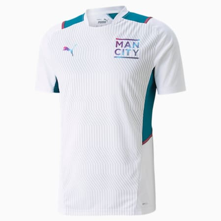 Męska koszulka treningowa Man City, Puma White-Ocean Depths, small