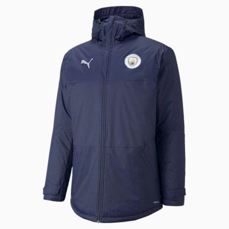 Man City Men's Winter Football Jacket, Peacoat-Quarry, small
