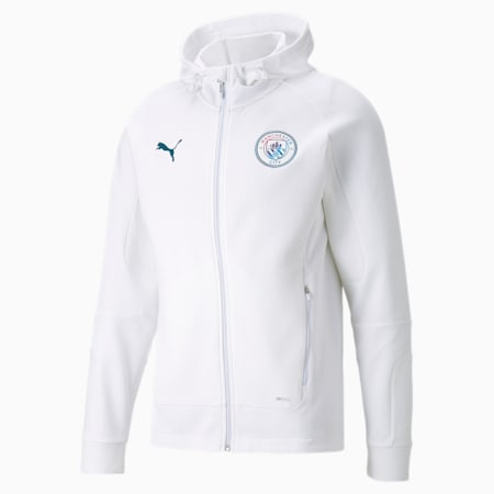 Man City Casuals Men's Football Hooded Jacket, Puma White, small-GBR