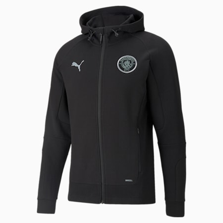 Man City Casuals Men's Football Hooded Jacket, Cotton Black, small