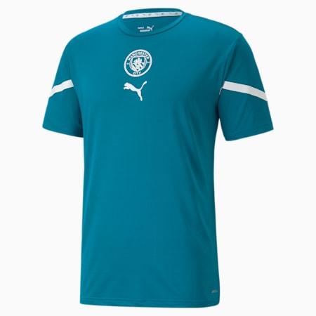 Camiseta de concentración PUMA x FIRST MILE Manchester City para hombre, Ocean Depths-Puma White, pequeño