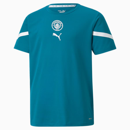 Camiseta prepartido juvenil PUMA x FIRST MILE del Manchester City, Ocean Depths-Puma White, small