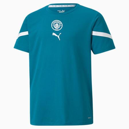 Młodzieżowa przedmeczowa koszulka PUMA x FIRST MILE Man City, Ocean Depths-Puma White, small