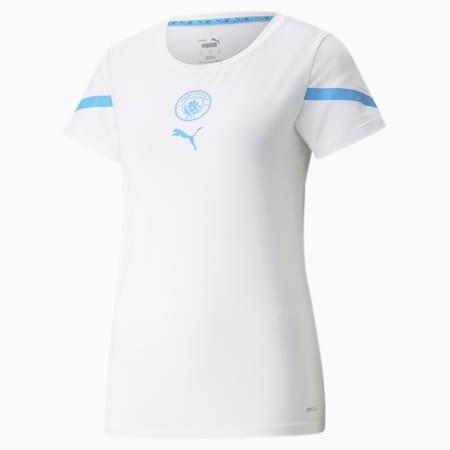 Camiseta prepartido para mujer PUMA x FIRST MILE del Man City, Puma White-Team Light Blue, small