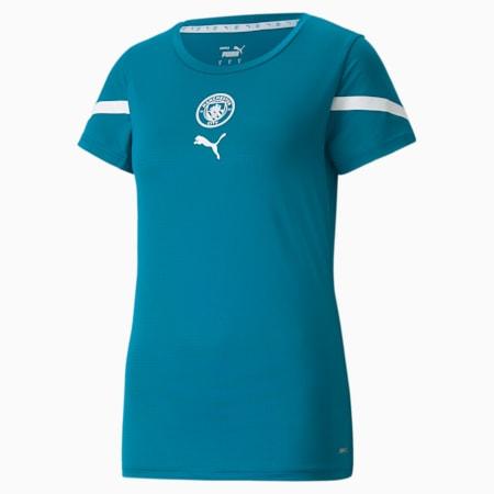 Camiseta prepartido para mujer PUMA x FIRST MILE del Man City, Ocean Depths-Puma White, small