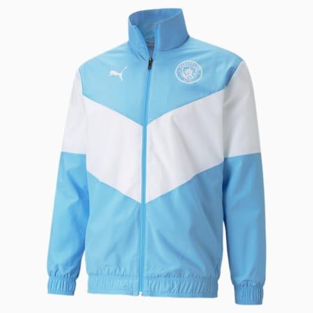 PUMA x FIRST MILE Man City Prematch Men's Football Jacket, Team Light Blue-Puma White, small-GBR