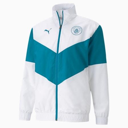 PUMA x FIRST MILE Man City Prematch Men's Football Jacket, Puma White-Ocean Depths, small-GBR