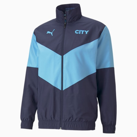 Chaqueta de fútbol de concentración PUMA x FIRST MILE Manchester City para hombre, Peacoat-Team Light Blue, pequeño