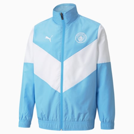 PUMA x FIRST MILE Man City Prematch Youth Football Jacket, Team Light Blue-Puma White, small
