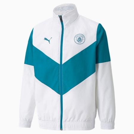 PUMA x FIRST MILE Man City Prematch Youth Football Jacket, Puma White-Ocean Depths, small-GBR