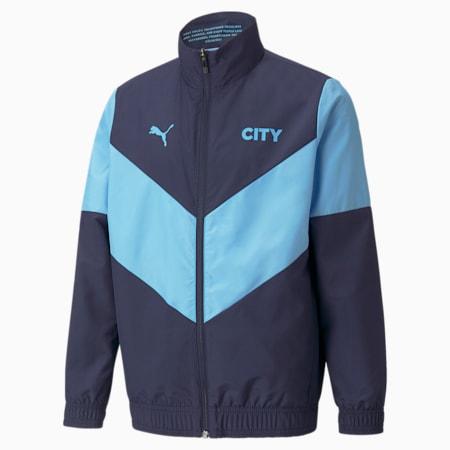 PUMA x FIRST MILE Man City Prematch Youth Football Jacket, Peacoat-Team Light Blue, small