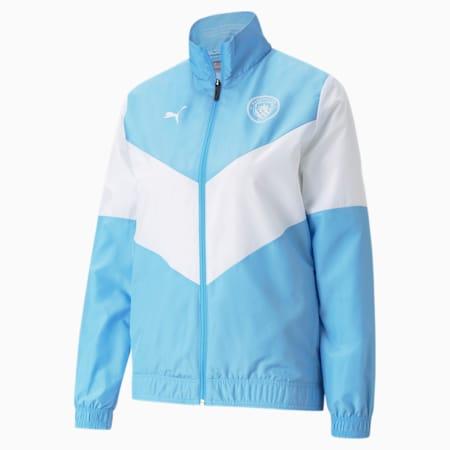 PUMA x FIRST MILE Man City Prematch Women's Football Jacket, Team Light Blue-Puma White, small-GBR