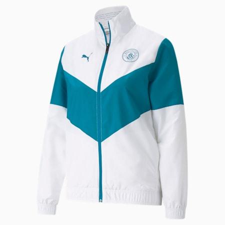 PUMA x FIRST MILE Man City Prematch Women's Football Jacket, Puma White-Ocean Depths, small-GBR