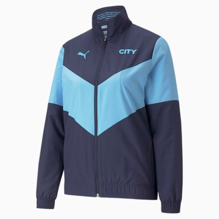 PUMA x FIRST MILE Man City Prematch Women's Football Jacket, Peacoat-Team Light Blue, small