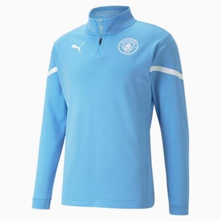 Maglia da calcio con mezza zip Man City Prematch da uomo, Team Light Blue-Puma White, small