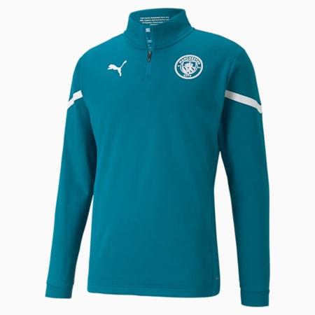 Męska koszulka piłkarska Man City Prematch z zamkiem 1/4, Ocean Depths-Puma White, small