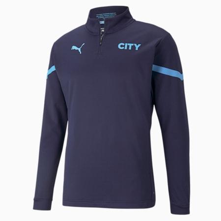 Męska koszulka piłkarska Man City Prematch z zamkiem 1/4, Peacoat-Team Light Blue, small