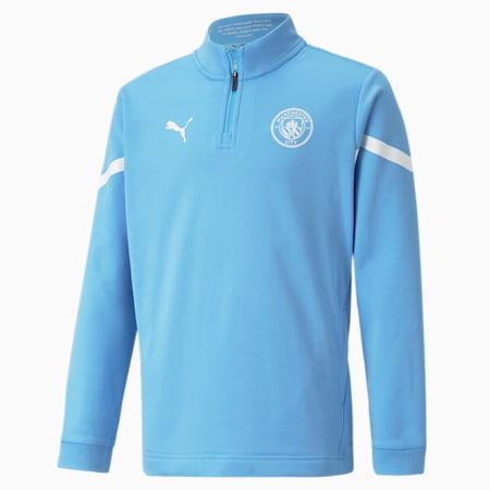 Man City Prematch Quarter-Zip Youth Football Top, Team Light Blue-Puma White, small-GBR
