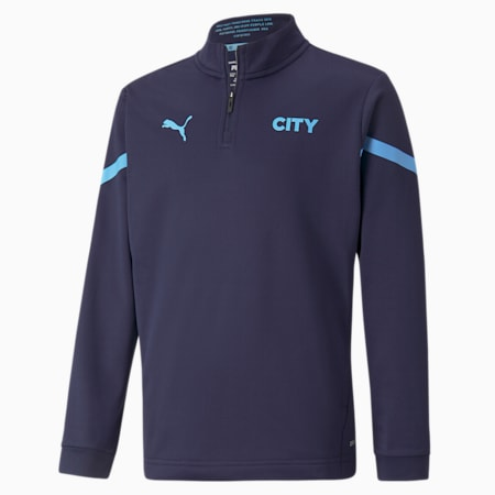 Młodzieżowa bluzka piłkarska Man City Prematch z zamkiem 1/4, Peacoat-Team Light Blue, small