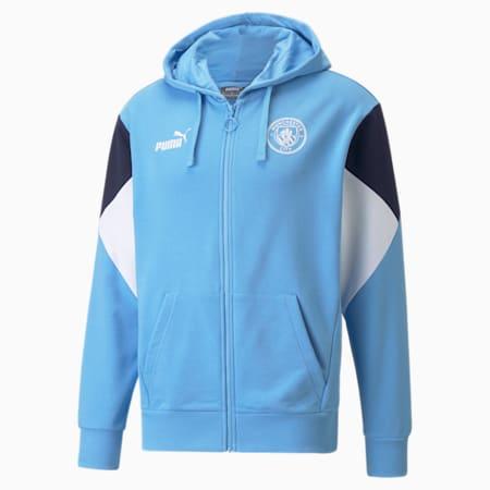 Męska piłkarska bluza z kapturem i zamkiem na całej długości Man City FtblCulture, Team Light Blue-Puma White, small