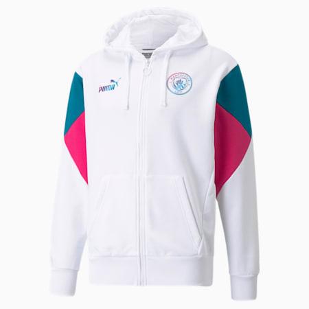 Sudadera con capucha de fútbol Manchester City FtblCulture de cierre completo para hombre, Puma White-Ocean Depths, pequeño