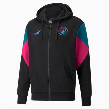 Sudadera con capucha de fútbol Manchester City FtblCulture de cierre completo para hombre, Puma Black-Ocean Depths, pequeño