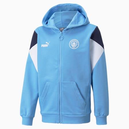 Sweat de football à capuche à fermeture zippée intégrale Man City FtblCulture enfant et adolescent, Team Light Blue-Puma White, small