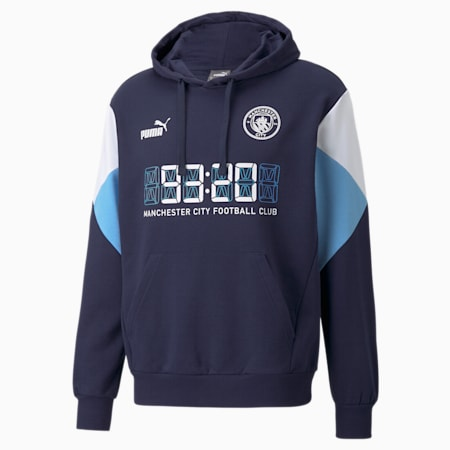 Męska piłkarska bluza z kapturem Man City FtblCulture, Peacoat-Puma White, small