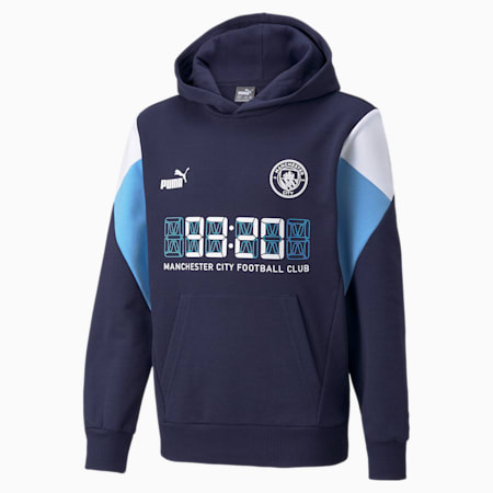 Man City FtblCulture Youth Football Hoodie, Peacoat-Puma White, small