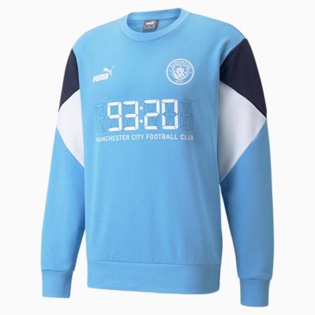 Sweatshirt voetbalsweater heren, Team Light Blue-Puma White, small
