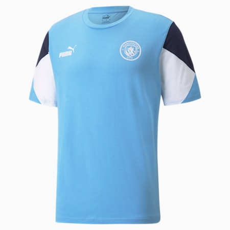 Camiseta de fútbol Manchester City FtblCulture para hombre, Team Light Blue-Puma White, pequeño